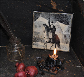 Belsnickle On a Horse-santa, belsnickle, horse, canvas, christmas, holiday