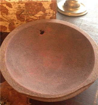 "Bowl - Hand Hewn 9"" Brown over Red"