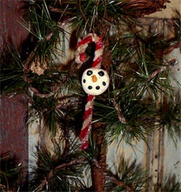 Hand Sculpted Candy Cane Snowman-snowman, christmas, candy cane, ornament