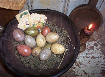 Aged Colored Mache' Eggs