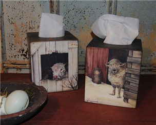 Cow and Sheep Tissue Boxes-