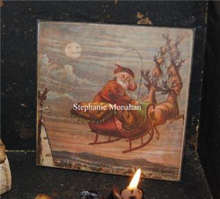 Santa and Reindeer Canvas-santas, canvas, christmas, reindeer