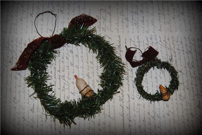 Hand Sculpted Candle Wreaths-wreath, christmas, ornament, clay