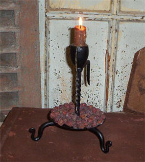 Iron Candle Holder with Pan Bottom - 32-1836