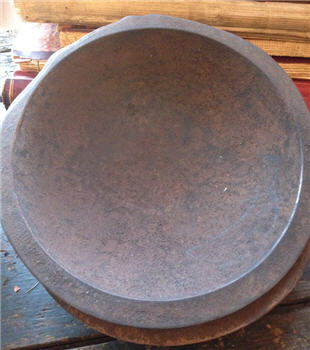 "Bowl - Hand Hewn 9"" - Mustard Brown-"