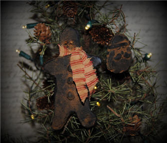 Retro Style Gingerbread Boy & Santa Ornaments