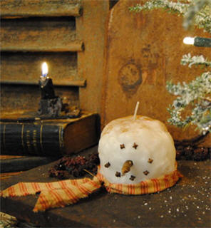 Snowman Head Candle-