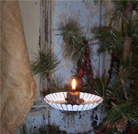 Round White Metal Candle Holder
